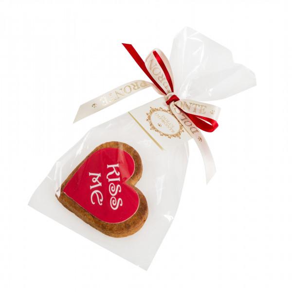 Dolcimpronte - Cuore rosso con scritta bianca KISS ME - confezione singola - 30 gr ( ASL Prot.0088901/16)