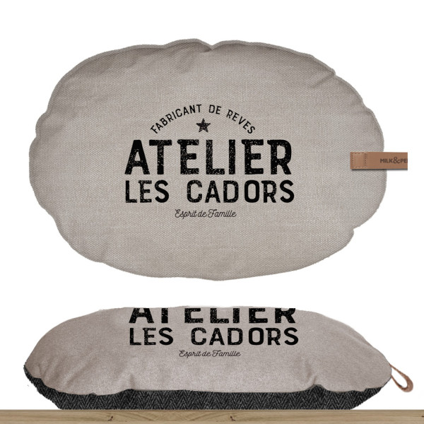 Milk & Pepper - Beige Oval Cushion - T4 - 75x45x7h - Atelier