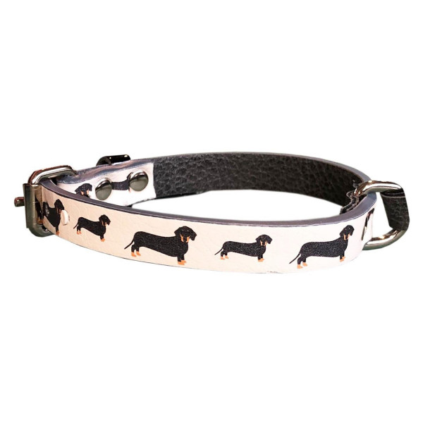 MQ- Ivory Collar with Dachshund Print