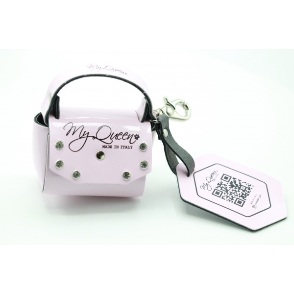 MQ- Mini Bag - Ecopelle - Vernice Rosa con Borchie