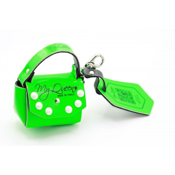 MQ- Mini Bag - Ecopellle - Verde Fluo con Borchie