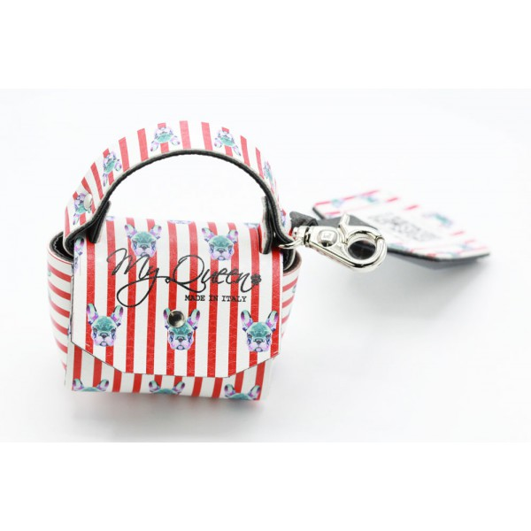 MQ- Mini Bag - Striped Printed Faux Leather - Bulldog