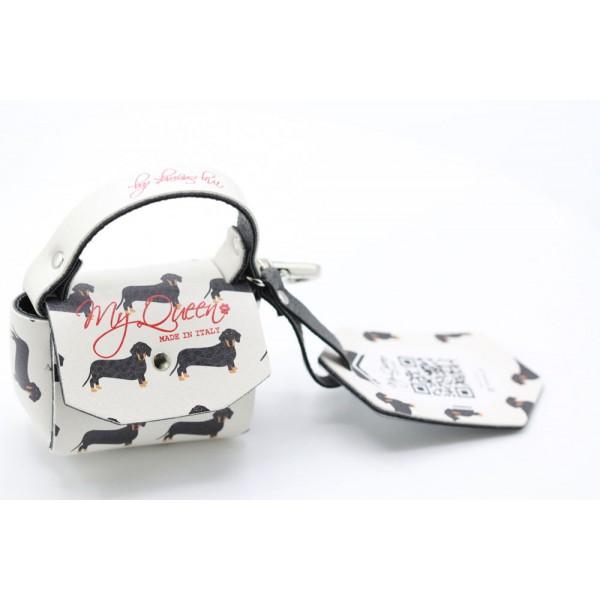 MQ- Mini Bag - Dachshund Print Faux Leather - Ivory