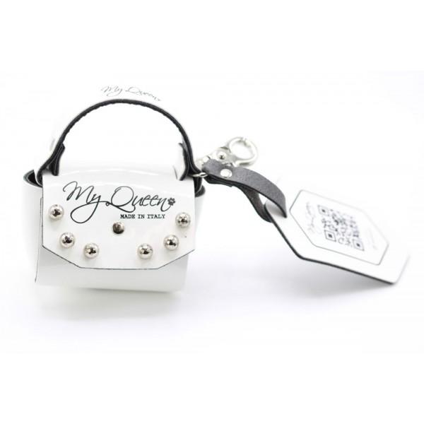 MQ- Mini Bag - Ecopelle Vernice Bianca - Borchie
