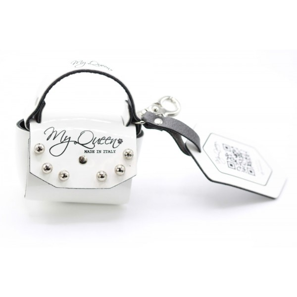 MQ- Mini Bag - White Patent Faux Leather - Studs