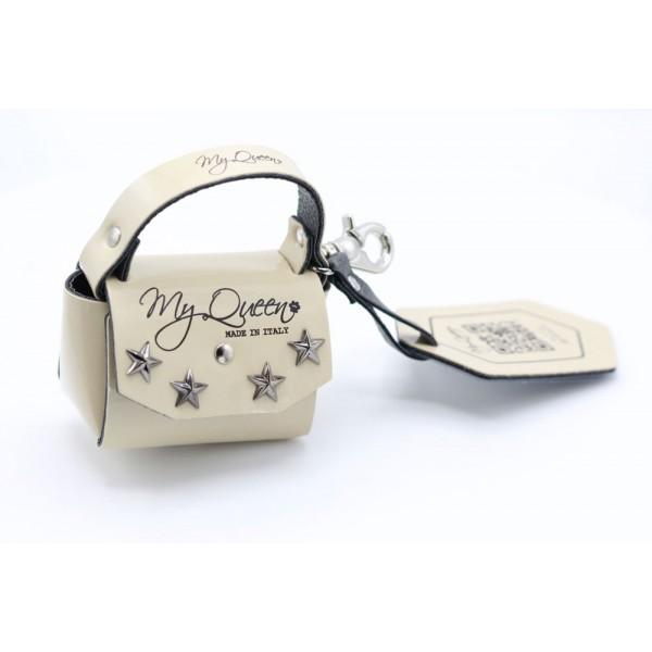 MQ- Mini Bag - Ecopelle -Vernice Beige e Borchie