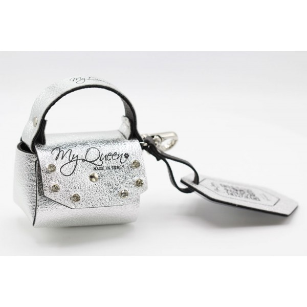 MQ- Mini Bag - Faux leather- Silver Laminate with Studs