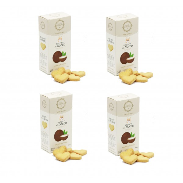 Dolci Impronte® - Pack of 4 Boxes 150 gr Coconut Flavored Biscuits