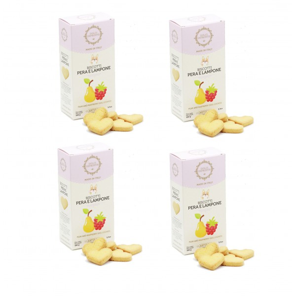 Dolci Impronte® - Pack of 4 Boxes 150 gr Raspberry Pear Flavored Biscuits