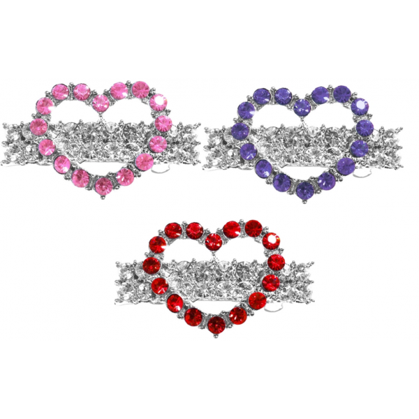 MR-Heart Hair Barrettes for Her - Various Colors -