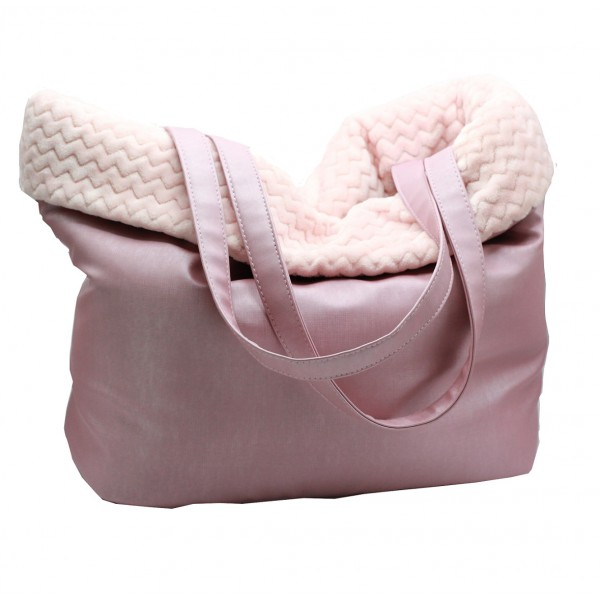 BF- Pink Faux Leather Carrier 40x33-39 cm - Made in Italy -