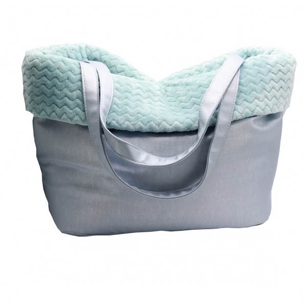 BF - Faux Leather Carrier - Light Blue - 40x33-39 cm - Made in Italy -