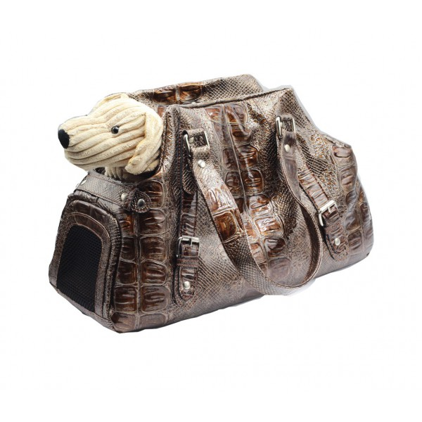 Printed Faux Leather Carrier - Bronze Color - Made in Italy