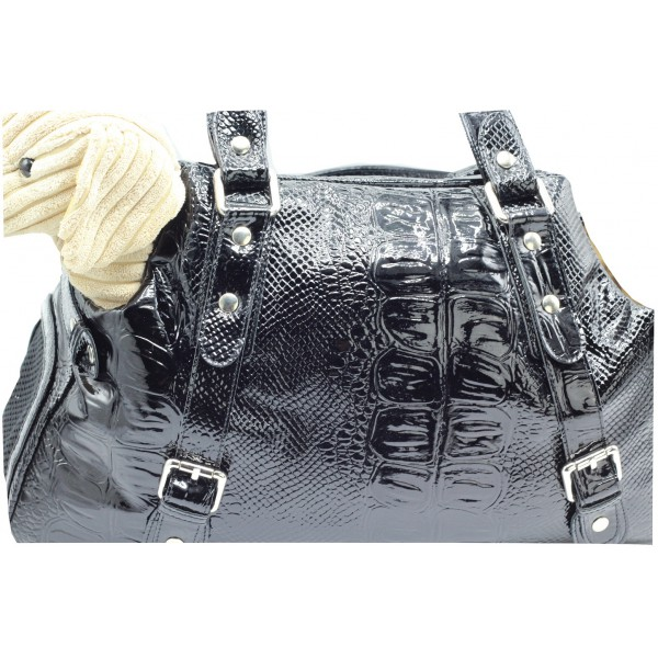 Printed Faux Leather Carrier - Black Color - Made in Italy